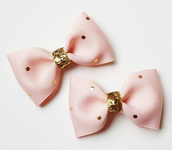 blush and gold polka dots – 2.5 inch tuxedo style hair accesories-gold glitter pigtails hair bows fo