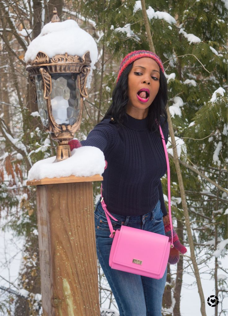 winter outfit/casual winter outfit/kate spade pink bag