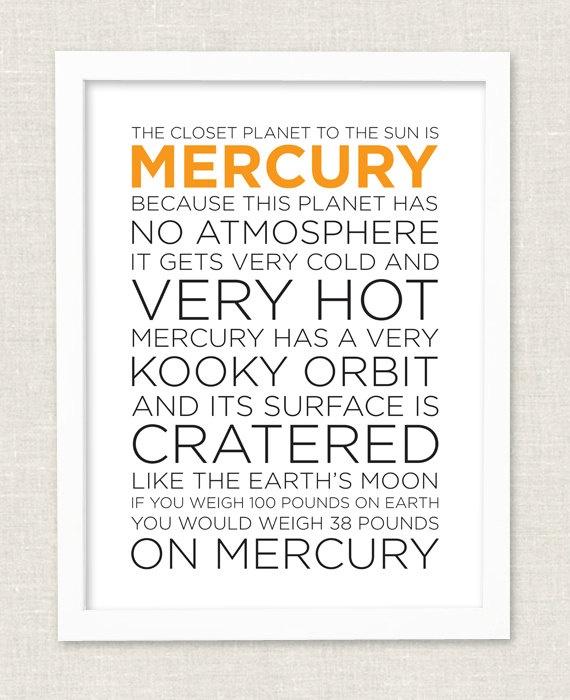 Planet Mercury Fact Sheet Educational Print by pennyluxesales, $34.00