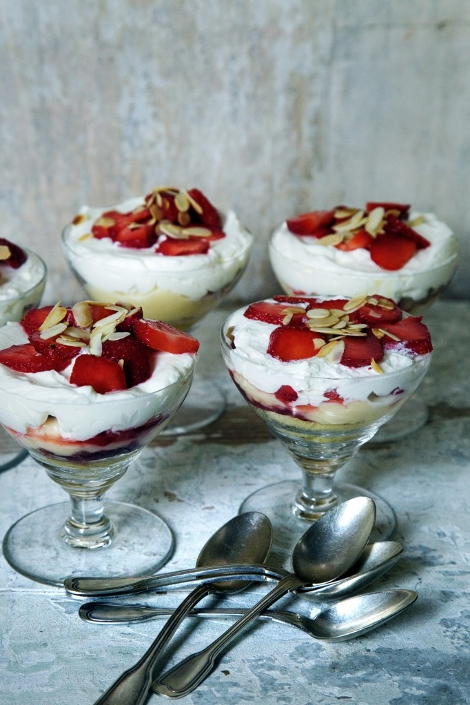 Summertrifle with recipes for madeira sponge cake and custard filling