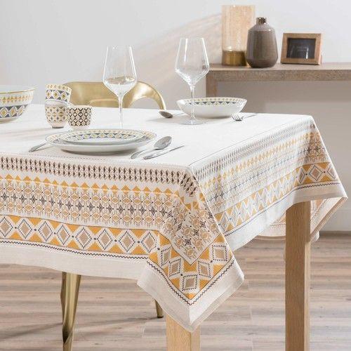 Nappe en coton beige motifs ethniques 150x250