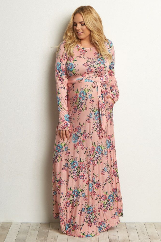 This is the perfect plus size maternity maxi dress to style up or down for any occasion. A floral print will look stunning for the spring season, and a sash tie will show off your beautiful belly. Style this maxi with sandals or flats for a complete ensemble.