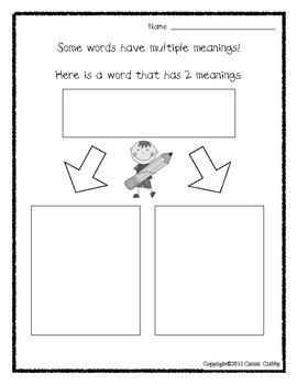 Multiple Meaning Words Worksheets For Kindergarten