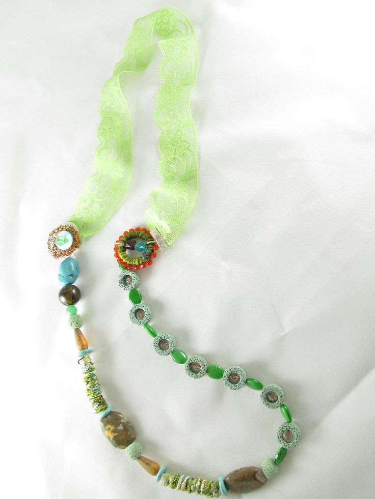 Handmade necklace with lace (1 pc)  Made with handmade fiber beads with silk, handmade wire motif, handmade hoop with fiber and beads, lace, semiprecious stones and glass beads.