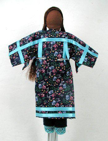 Native American Oglala Lakota No Face doll - Blue Calico