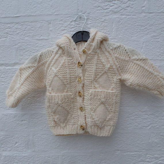 Girls cardigan kids clothing aran cardigan handmade clothes vintage gift wool…