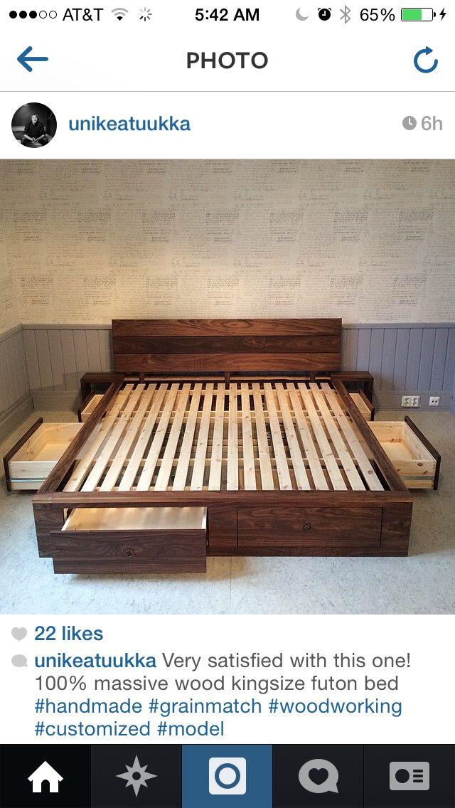 Bed storage. #cama #estrado de cama #cama com gavetas #bed