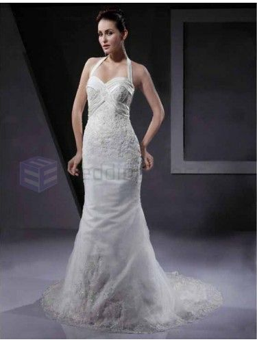 Trumpet Mermaid Halter Sleeveless Applique Satin Beading Court Train Wedding Dress