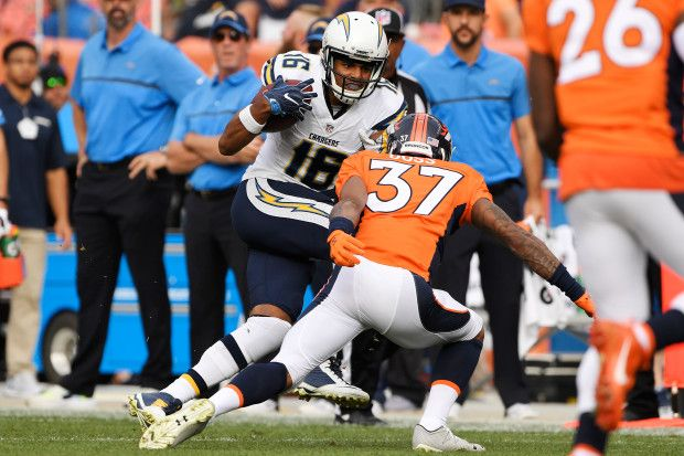 Chargers vs. Broncos:  October 30, 2016  -  27-19, Broncos  -       Lorenzo Doss (37) of the Denver Broncos lines up Tyrell Williams (16) of the San Diego Chargers during the second quarter on Sunday, October 30, 2016. The Denver Broncos hosted the San Diego Chargers.