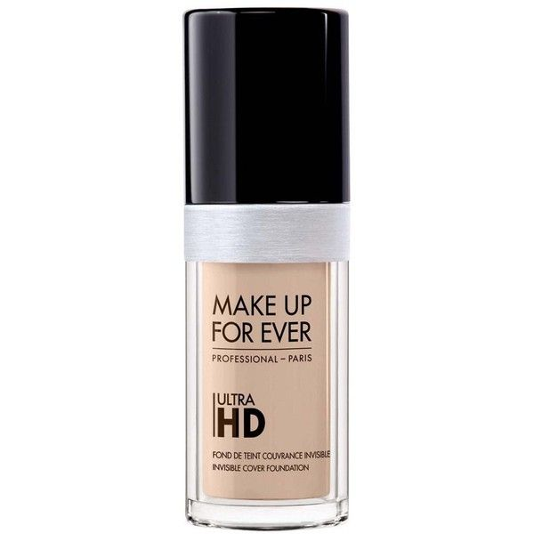Make Up For Ever Ultra HD Foundation Light Shades 30ml ($43) ❤ liked on Polyvore featuring beauty products, makeup, face makeup, foundation, make up for ever, make up for ever foundation and moisturizing foundation