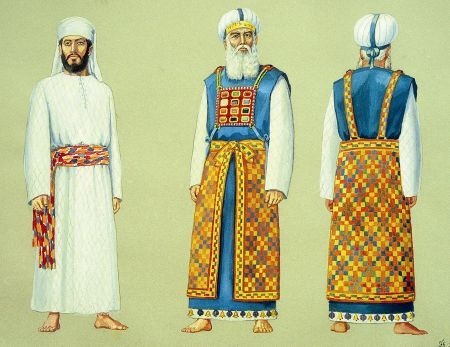 Vestments of the High Priest and priest.  When the First and Second Temples were built, the priests assumed their roles in the permanent structures on the Temple Mount in Jerusalem. They were divided into 24 groups, each group consisting of 6 priestly families. Each of the 24 served for one complete week, with each of the 6 serving one day per week, on the Sabbath all six worked in tandem. On the biblical festivals all 24 were present in the Temple for duty.