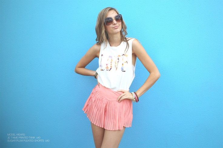 Model wears Je T'aime Tank & Sugar Plum Shorts