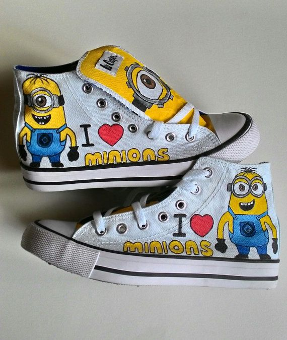 Minion Shoes, Hand Painted Minion Sneakers, Womens Minion Shoes, Girls Minion Shoes, Boys Minion Shoes, Customised Minion Shoes