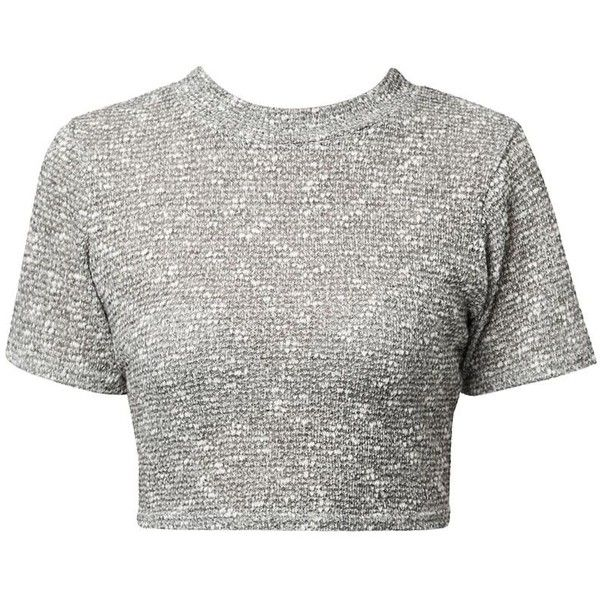 Cameo Rose Grey Fine Knit Crop Top ($7.87) ❤ liked on Polyvore featuring tops, crop top, shirts, dresses, crop shirts, rosette top, gray crop top and short sleeve tops