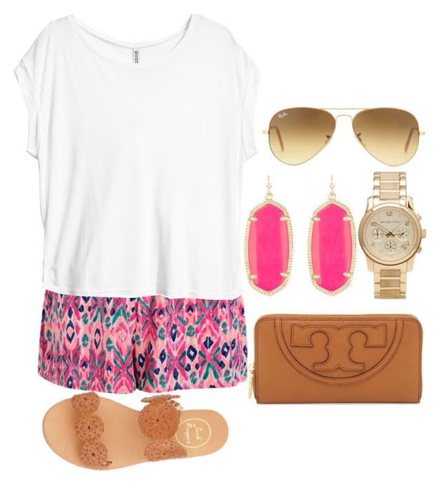 """pink"" by izzycirillo ❤ liked on Polyvore featuring Boohoo, H&M, Ray-Ban, Kendra Scott, Michael Kors, Tory Burch and Jack Rogers"