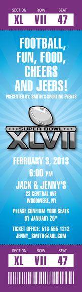 2013 Super Bowl XLVII Logo Ticket Invitation