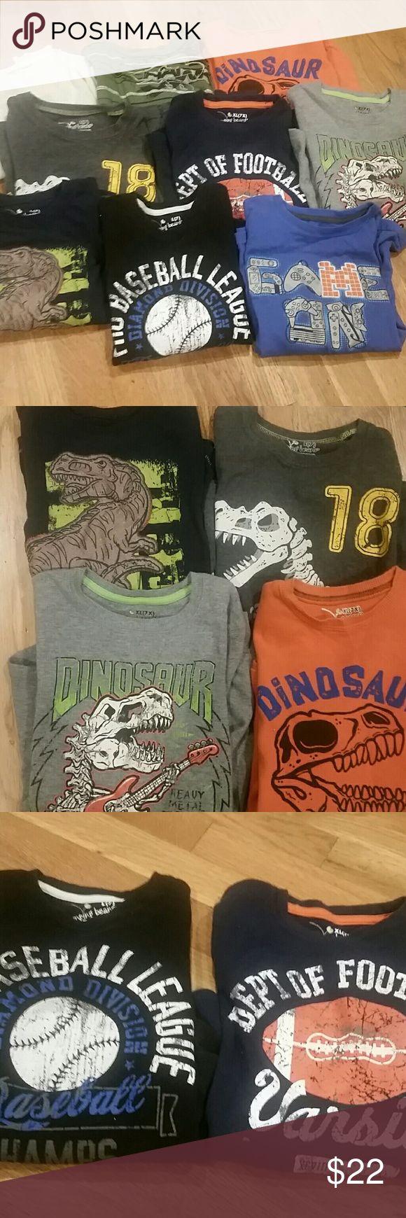 Bundle of 9 Boy's long-sleeved shirts, size 7/7X Four Dinosaur shirts, two sports shirts, one green Tony Hawk shirt, one gaming shirt, and one cream shirt jumping beans Shirts & Tops Tees - Long Sleeve