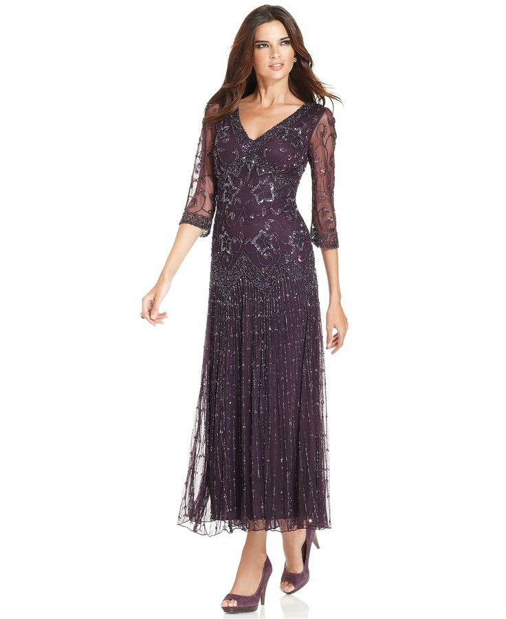Pisarro Nights Dress Three Quarter Sleeve Beaded Gown