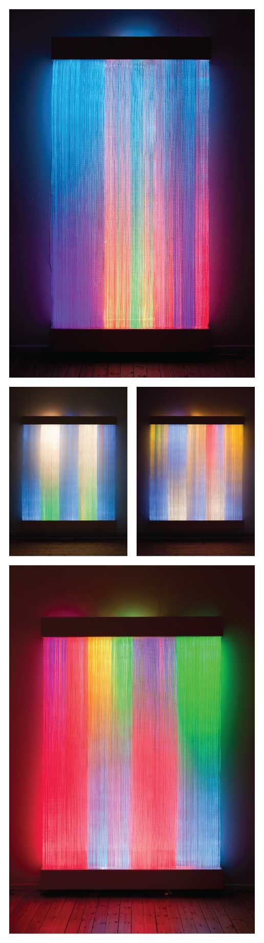 Interacts with viewers in proximity. 'Moving with Lights', Astrid Krogh.