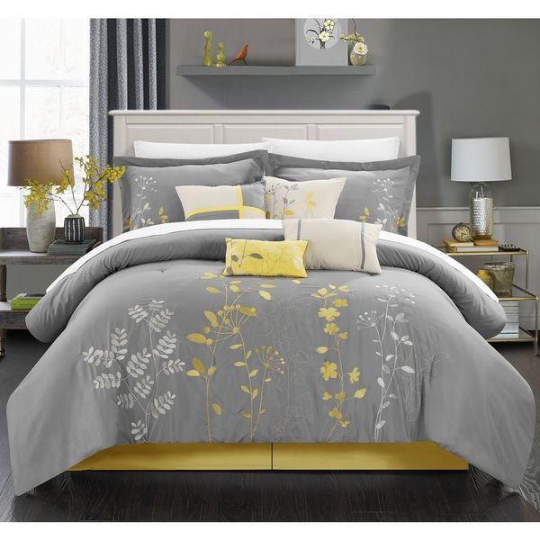 chic home fortuno yellow embroidered 12piece bed in a bag with sheet set embroidered beddingbed