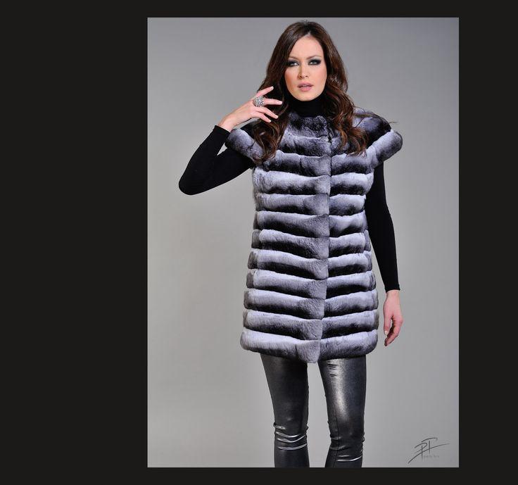 Black & White Chinchilla long fur vest.