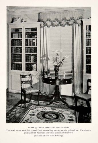 1939 Print Drum Table Eagle Chairs Furniture Duncan Phyfe Interior Design Art