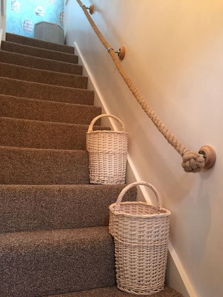 Rope Handrail And Stairs Baskets Stairs Landing And