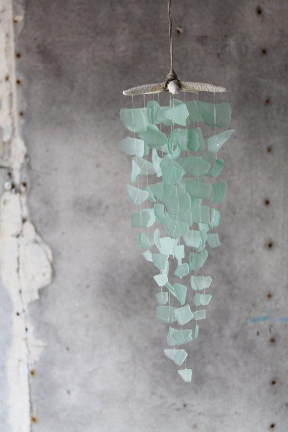 Sea Glass & Starfish Mobile – Solid Seafoam / Sea glass mobile, seaglass windchime, sea glass chande