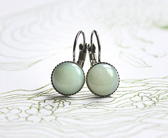 Love these! From Etsy -Green Fairy, minimalist cabochon earrings mint - simple earrings for every day.