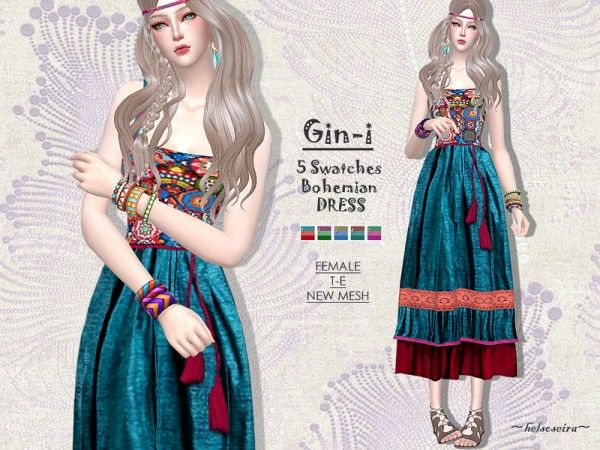 Sims2fanbg Dress Boho Red 148