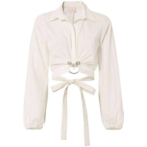 Cinq à Sept Women's Trillian Wrap Shirt ($275) ❤ liked on Polyvore featuring tops, white, white cotton shirt, white collar shirt, long sleeve cotton shirts, white long sleeve shirt and long sleeve crop top