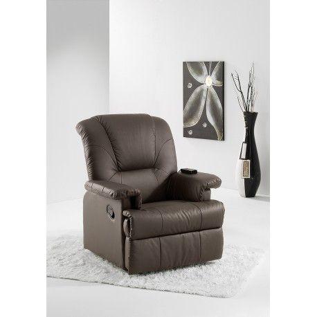 Sillón Relax Masaje Galant Termico tapizado en semi piel color chocolate con masaje por vibración en asiento y lumbares,calor lumbar.