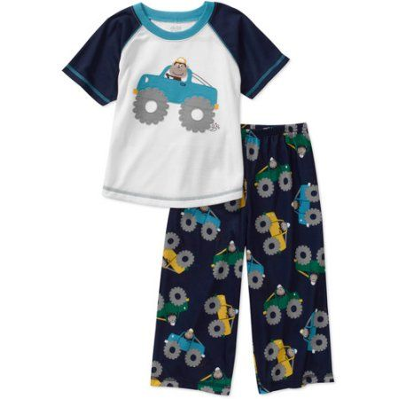Child of Mine Carters Baby Boys' 2-Piece Truck Tee and Pant PJ Set, Blue