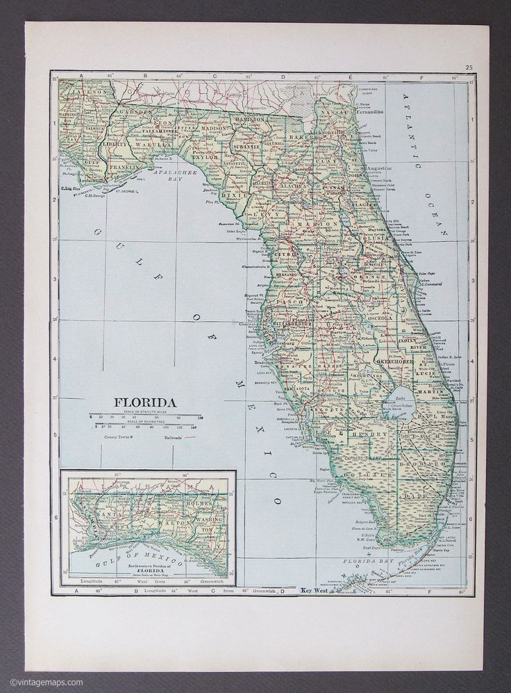 Florida 1921 vintage map without highways