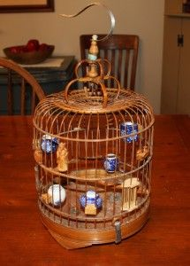 chinese bird cages | Asian Chinese Bamboo Bird Cage w Canton Porcelain Feeders