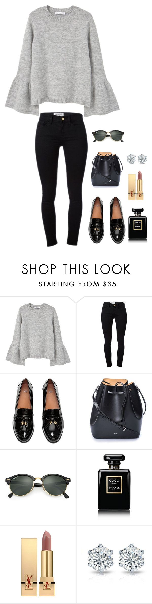 """Untitled #975"" by h1234l on Polyvore featuring MANGO, Frame Denim, N°21, Ray-Ban, Chanel and Yves Saint Laurent"