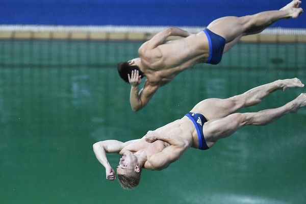 Great Britain's Jack Laugher and Great Britain's Chris Mears compete in the Men's Synchronised 3m Springboard Final during the diving event at the Rio 2016 Olympic Games at the Maria Lenk Aquatics Stadium in Rio de Janeiro on August 10, 2016.   / AFP / GABRIEL BOUYS