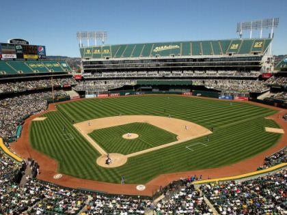 Oakland-Alameda County Coliseum, Oakland Athletics, Oakland, CA...love the food there.  Seen the Yankees here as well.