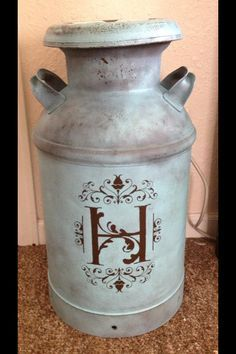 An old milk can we refinished. I love it! See more at www.facebook.com/hartmediasigns