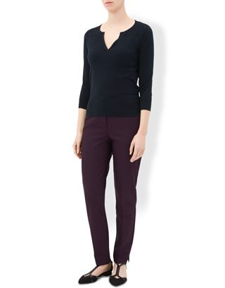 Our Madison fine-knit jumper is cut for a flattering slim fit with a v-shaped neckline and three-quarter length sleeves. Wear yours with smart tapered trouse...