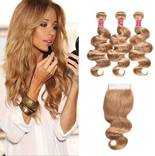 New WOME 3 Pieces Peruvian Body Wave Hair Weft With 4×4 Lace Frontal Closure Color 27 Honey Blonde Body Wave Hair Bundles With Closure (14 16 18+14 Closure, Blonde 27) online