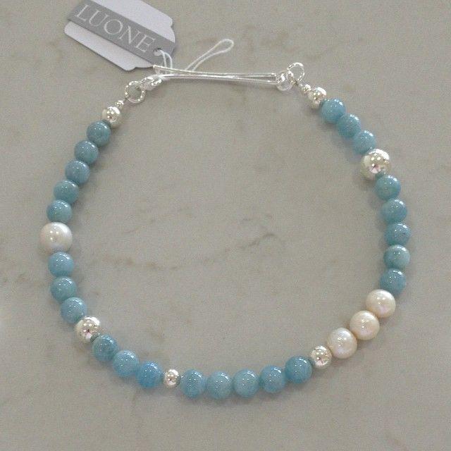 Beautiful blue #aquamarine #freshwaterpearl #sterlingsilver #necklace #portfairy #portfairyjeweller #luone @luonejewellery