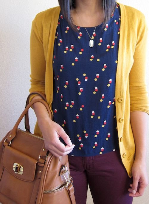 *Yellow pants or jeans + Blue blazer + white tee + taupe bag // OR yellow blazer + white floral jeans + blue or yellow heels// Style Pantry Blazers For Women - Red Blazer & Yellow Blazer Fashion Sale Online love this whole outfit. Though I'd probably swap for the dark blue pants and the light blazer.