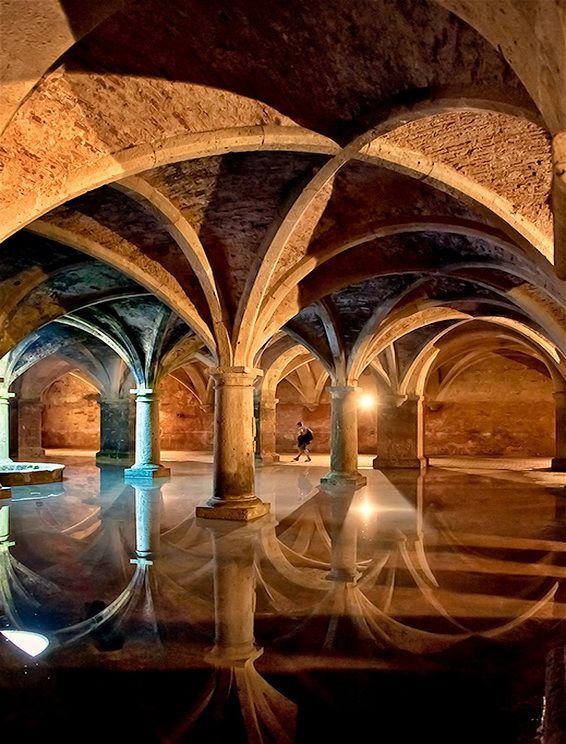 The Portuguese Cistern in El Jadida, Morocco. Built in 1514, this former warehouse (possibly an armory) was converted into a cistern in the 16th century. The underground chamber, measuring 34 meters by 34 meters, was constructed with five rows of five stone pillars.