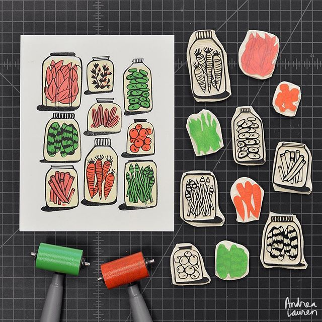 Using up some leftover bits to carve and print pickles in three colors