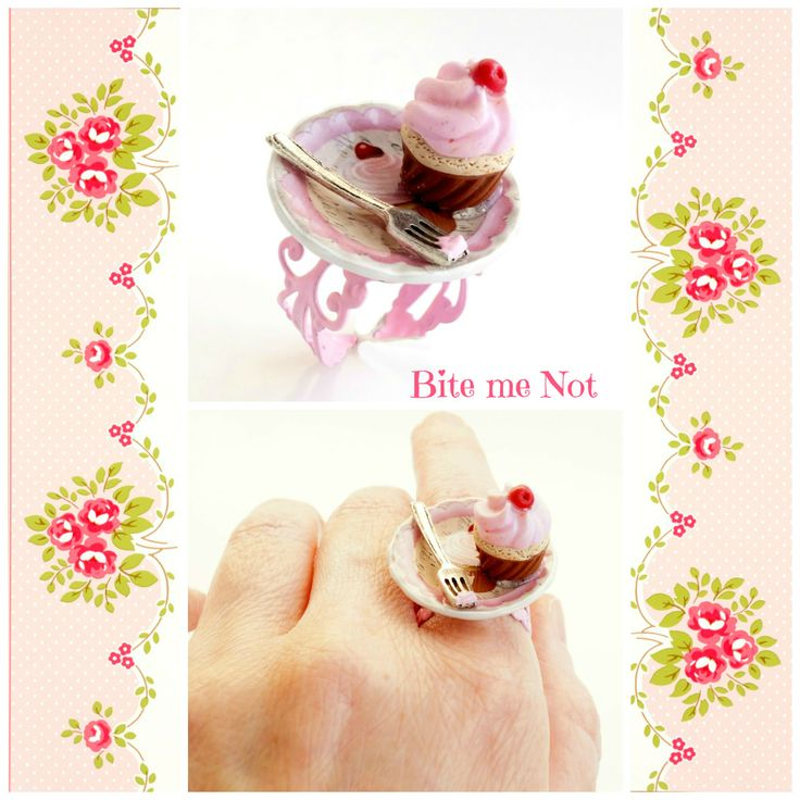 ''Shabby chic cupcake on a cupcake plate''Ring!