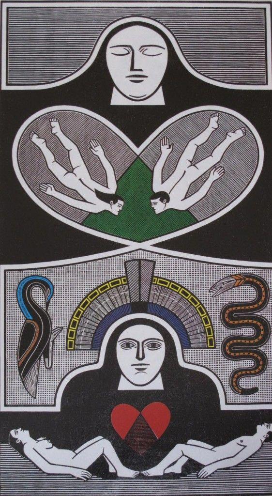 """""""A criação: adão e eva"""", xilogravura, Gilvan Samico"""