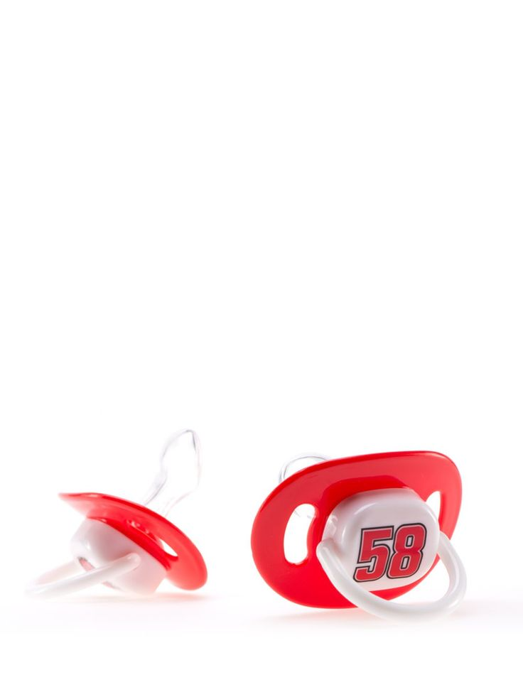 Set of two Marco Simoncelli pacifiers made of food-safe silicone, featuring the #MarcoSimoncelli colours and logos.   #pacifer #ciuccio
