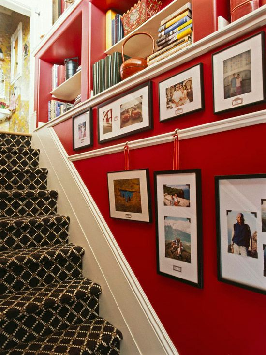 Picture rail molding in a stairway to make swapping pictures easier (no holes!): Stairs Wall, Hanging Pictures, Idea, Red Wall, Color, Basements Stairs, Carpets, Pictures Railings, Photos Display
