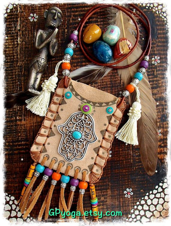HAMSA Hand LEATHER medicine bag Tribal Ibiza summer by GPyoga